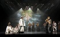 CYMBELINE   by Shakespeare   set design: Tsukasa Nakagoshi   costumes: Nobuko Miyamoto   lighting: Jiro Katsushiba   director: Yukio Ninagawa ~front left: Shinobu Otake (Imogen), Tomomi Maruyama (Luci...