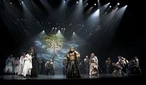 CYMBELINE   by Shakespeare   set design: Tsukasa Nakagoshi   costumes: Nobuko Miyamoto   lighting: Jiro Katsushiba   director: Yukio Ninagawa ~front left: Shinobu Otake (Imogen), Hiroshi Abe (Posthumu...