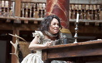THE TAMING OF THE SHREW   by Shakespeare   design: Mike Britton   director: Toby Frow ~IV/i: Samantha Spiro (Katherina)~Shakespeare's Globe (SG), London SE1   04/07/2012