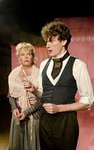 ST JOHN'S NIGHT   by Ibsen   design: James Perkins   lighting: Richard Howell   director: Anthony Biggs ~Sara Crowe (Mrs Berg), Ed Birch (Birk)~Jermyn Street Theatre, London SW1   12/07/2012