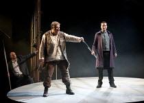 GOTTERDAMMERUNG  by Wagner   conductor: Anthony Negus   design: Kjell Torriset   lighting: Ben Ormerod   director: Alan Privett   l-r: Mati Turi (Siegfried), Stuart Pendred (Hagen) Longborough Festi...