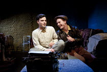 VIEUX CARRE   by Tennessee Williams   set design: Nicolai Hart-Hansen   costumes: Jonathan Lipman   lighting: Richard Williamson   director: Robert Chevara ~l-r: Tom Ross-Williams (Writer), Jack McMil...