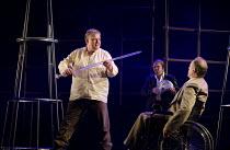 GOTTERDAMMERUNG  by Wagner   conductor: Anthony Negus   design: Kjell Torriset   lighting: Ben Ormerod   director: Alan Privett   l-r: Mati Turi (Siegfried), (in wheelchair) Eddie Wade (Gunther) Lon...