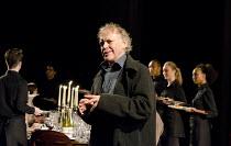 TIMON OF ATHENS   by Shakespeare   design: Tim Hatley   lighting: Bruno Poet   director: Nicholas Hytner ~Hilton McRae (Apemantus)~Olivier Theatre / National Theatre (NT), London SE1   17/07/2012