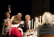 TIMON OF ATHENS   by Shakespeare   design: Tim Hatley   lighting: Bruno Poet   director: Nicholas Hytner ~centre: Simon Russell Beale (Timon of Athens)    ~Olivier Theatre / National Theatre (NT), Lon...