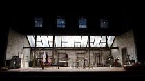 THE DOCTOR'S DILEMMA   by G B Shaw   design: Peter McKintosh   lighting: Neil Austin   director: Nadia Fall ~stage,set,empty,artist,studio,skylight~Lyttelton Theatre / National Theatre (NT), London SE...