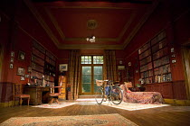 HYSTERIA   by Terry Johnson   design: Lez Brotherston   lighting: Paul Pyant   director: Terry Johnson ~stage,set,empty,bicycle,study.psychiatry,books~Theatre Royal Bath (TRB), England   03/08/2012