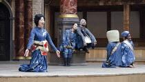 CORIOLANUS   by Shakespeare   costumes: Kyoko Domoto   director: Motoi Miura ~front left: Satoko Abe (Chorus)   rear centre: Saki Kohno (Chorus), Dai Ishida (Coriolanus)   ~Chiten Theatre Company, Kyo...