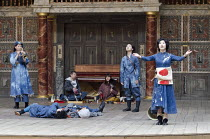CORIOLANUS   by Shakespeare   costumes: Kyoko Domoto   director: Motoi Miura ~front, l-r: Shie Kubota (Chorus), (lying on stage) Yohei Kobayashi (Chorus) and Dai Ishida (Coriolanus), Saki Kohno (Choru...