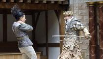 HENRY IV part 1   by Shakespeare   set design: Auda Caraza y Atenea Chavez   costumes: Mario Marin del Rio   director: Hugo Arrevillaga Serrano ~l-r: Gabriela Nunez (Messenger), Marco Antonio Garcia (...