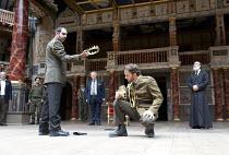 RICHARD II   by Shakespeare   design: Rajha Shakiry   director: Conall Morrison   l-r: Amer Khalil (Bagot), Iyad Hurani (Percy), Nicola Zreineth (Henry Bolingbroke), Hussein Nakhleh (John of Gaunt),...