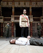 RICHARD II   by Shakespeare   design: Rajha Shakiry   director: Conall Morrison ~rear left: Edward Muallem (Northumberland)   centre: (standing) Nicola Zreineth (Henry Bolingbroke), Sami Metwasi (Rich...