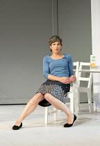 JUMPY   by April de Angelis   design: Lizzie Clachan   lighting: Peter Mumford   director: Nina Raine ~Tamsin Greig (Hilary) ~Royal Court Theatre 2011 production / Duke of York's Theatre, London WC2...