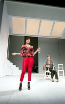 JUMPY   by April de Angelis   design: Lizzie Clachan   lighting: Peter Mumford   director: Nina Raine ~l-r: Doon Mackichan (Frances), Tamsin Greig (Hilary) ~Royal Court Theatre 2011 production / Duke...