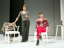 JUMPY   by April de Angelis   design: Lizzie Clachan   lighting: Peter Mumford   director: Nina Raine ~l-r: Tamsin Greig (Hilary), Doon Mackichan (Frances) ~Royal Court Theatre 2011 production / Duke...