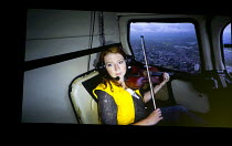 'Helicopter String Quartet' - live video relay of Jennymay Logan (Violin 2 of the Elysian Quartet) in MITTWOCH AUS LICHT at the Birmingham Opera Company, Argyle Works, Birmingham B9, England  22/08/20...