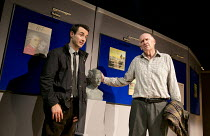 HAUNTING JULIA   by Alan Ayckbourn   design: John Brooking   lighting: Matthew Eagland   director: Andrew Hall ~l-r: Joe McFadden (Andy Rollinson), Duncan Preston (Joe Lukin) ~Mercury Theatre, Colches...
