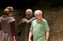 KING LEAR   by Shakespeare   design: Tom Scutt    lighting: Jon Clark   director: Michael Attenborough ~right: Michael Attenborough (director) with Zoe Waites (Goneril), Jonathan Pryce (King Lear) ~Al...
