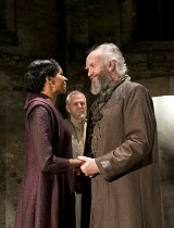 KING LEAR   by Shakespeare   design: Tom Scutt    lighting: Jon Clark   director: Michael Attenborough ~l-r: Jenny Jules (Regan), Ian Gelder (Earl of Kent), Jonathan Pryce (King Lear)~Almeida Theatre,...