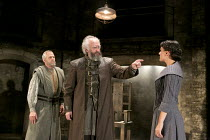 KING LEAR   by Shakespeare   design: Tom Scutt    lighting: Jon Clark   director: Michael Attenborough ~l-r: Ian Gelder (Earl of Kent), Jonathan Pryce (King Lear), Phoebe Fox (Cordelia) ~Almeida Theat...