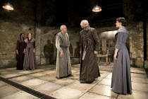 KING LEAR   by Shakespeare   design: Tom Scutt    lighting: Jon Clark   director: Michael Attenborough ~l-r: Jenny Jules (Regan), Zoe Waites (Goneril), Ian Gelder (Earl of Kent), Jonathan Pryce (King...