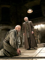 KING LEAR   by Shakespeare   design: Tom Scutt    lighting: Jon Clark   director: Michael Attenborough ~l-r: Ian Gelder (Earl of Kent), Jonathan Pryce (King Lear)~Almeida Theatre, London N1  11/09/201...