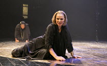 ANTONY AND CLEOPATRA   by Shakespeare   design: Peter Mckintosh   lighting: Paul Pyant   director: Janet Suzman ~Kim Cattrall (Cleopatra) with (rear left) Aicha Kossoko (Charmian)~Chichester Festival...