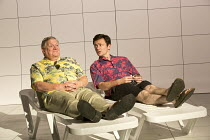 LOVE AND INFORMATION   by Caryl Churchill   set design: Miriam Buether   costumes: Laura Hopkins   lighting: Peter Mumford   director: James Macdonald ~'Shrink' - l-r: Paul Jesson, Justin Salinger~Jer...