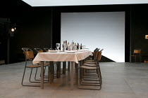 THREE SISTERS   by Chekhov   in a version by Benedict Andrews   set design: Johannes Schutz   costumes: Victoria Behr   lighting: James Farncombe   director: Benedict Andrews ~set,empty,table,dining~T...