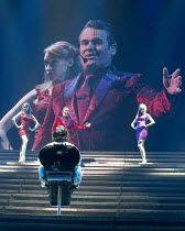 JESUS CHRIST SUPERSTAR   music: Andrew Lloyd Webber   lyrics: Tim Rice   design: Mark Fisher   lighting: Patrick Woodroffe   director: Laurence Connor ~~centre: (front, back to camera) Ben Forster (Je...