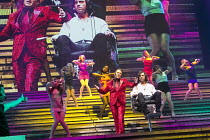JESUS CHRIST SUPERSTAR   music: Andrew Lloyd Webber   lyrics: Tim Rice   design: Mark Fisher   lighting: Patrick Woodroffe   director: Laurence Connor ~~front centre: Chris Moyles (King Herod), Ben Fo...
