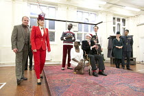 KING LEAR   by Shakespeare   design: Lily Arnold   director: Tim Crouch ~l-r: Colm Gormley (Duke of Albany), Anna Bolton (Goneril), Tyrone Huggins (Earl of Gloucester), Debbie Korley (Cordelia), Paul...