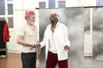 KING LEAR   by Shakespeare   design: Lily Arnold   director: Tim Crouch ~l-r: Paul Copley (King Lear), Tyrone Huggins (Earl of Gloucester) ~Royal Shakespeare Company / RSC Young People's Shakespeare /...