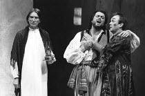 TWELFTH NIGHT   by Shakespeare   set design: Kit Surrey   costumes: Deirdre Clancy   lighting: Robert Bryan   director: Bill Alexander   l-r: John Carlisle (Malvoilo), Roger Allam (Sir Toby Belch), B...