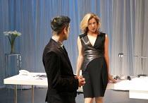 NSFW   by Lucy Kirkwood   design: Tom Pye   lighting: Guy Hoare   director: Simon Godwin ~Sacha Dhawan (Sam), Janie Dee (Miranda)~Jerwood Theatre Downstairs / Royal Court Theatre (RC), London SW1   31...
