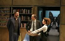 NSFW   by Lucy Kirkwood   design: Tom Pye   lighting: Guy Hoare   director: Simon Godwin ~l-r: Julian Barratt (Aidan), Kevin Doyle (Mr Bradshaw), Esther Smith (Charlotte)~Jerwood Theatre Downstairs /...