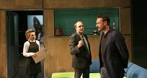 NSFW   by Lucy Kirkwood   design: Tom Pye   lighting: Guy Hoare   director: Simon Godwin ~l-r: Esther Smith (Charlotte), Kevin Doyle (Mr Bradshaw), Julian Barratt (Aidan)~Jerwood Theatre Downstairs /...
