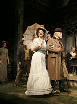 UNCLE VANYA   by Chekhov   design: Christopher Oram   lighting: Paul Pyant   director: Lindsay Posner ~front centre: Anna Friel (Yelena), Paul Freeman (Serebryakov)~Vaudeville Theatre, London WC2   02...