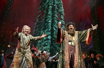 SCROOGE - THE MUSICAL   book, music & lyrics: Leslie Bricusse   based on 'A Christmas Carol' by Dickens   design: Paul Farnsworth   lighting: Nick Richings   director: Bob Tomson ~l-r: Tommy Steele (E...