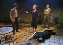 LOT AND HIS GOD   by Howard Barker   design: Fotini Dimou   lighting: Peter Mumford   director: Robyn Winfield-Smith ~~l-r: Justin Avoth (Drogheda), Hermione Gulliford (Sverdlosk), Mark Tandy (Lot) wi...