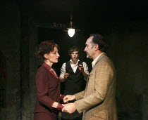 LOT AND HIS GOD   by Howard Barker   design: Fotini Dimou   lighting: Peter Mumford   director: Robyn Winfield-Smith ~~l-r: Hermione Gulliford (Sverdlosk), Vincent Enderby (The Waiter), Mark Tandy (Lo...
