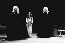 TITUS ANDRONICUS   by Shakespeare   design: Christopher Morley   lighting: Brian Harris   director: John Barton ~l-r: Roger Allam (Demetrius), Leonie Mellinger (Lavinia), Colin Tarrant (Chiron)~Royal...