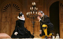 TWELFTH NIGHT   by Shakespeare   design: Jenny Tiramani   lighting: David Plater   director: Tim Carroll ~III/iv- l-r: Mark Rylance (Olivia), Stephen Fry (Malvolio) ~Shakespeare's Globe production, Ap...