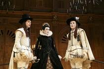 TWELFTH NIGHT   by Shakespeare   design: Jenny Tiramani   lighting: David Plater   director: Tim Carroll ~V/i - l-r: Samuel Barnett (Sebastian), Mark Rylance (Olivia), Johnny Flynn (Viola)~Shakespeare...