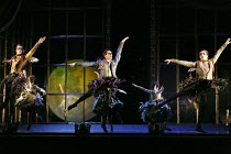 SLEEPING BEAUTY   music: Tchaikovsky   design: Lez Brotherston   lighting: Paule Constable   chroreographed & directed by Matthew Bourne   Act 1 - the fairies visit baby Aurora - front, l-r: Joe Walk...