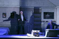 HAUNTING JULIA   by Alan Ayckbourn   design: John Brooking   lighting: Matthew Eagland   director: Andrew Hall ~l-r: Duncan Preston (Joe Lukin), Richard O'Callaghan (Ken Chase), ~Mercury Theatre, Colc...