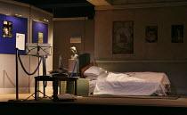 HAUNTING JULIA   by Alan Ayckbourn   design: John Brooking   lighting: Matthew Eagland   director: Andrew Hall ~stage,set (detail),empty,gallery,bedroom~Mercury Theatre, Colchester, England   30/08/20...