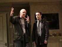 HAUNTING JULIA   by Alan Ayckbourn   design: John Brooking   lighting: Matthew Eagland   director: Andrew Hall ~l-r: Duncan Preston (Joe Lukin), Joe McFadden (Andy Rollinson)~Mercury Theatre, Colchest...