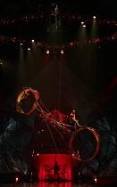 KOOZA   set design: Stephane Roy   costumes: Marie-Chantale Vaillancourt   makeup: Florence Cornet   lighting: Martin Labrecque   writer & director: David Shiner   'Wheel of Death' Cirque du Soleil...