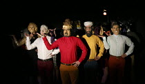 FIESCO   by Schiller   in a new version by Daniel Millar & Mark Leipacher   director: Mark Leipacher ~in Clinton mask (left): Richard Delaney (Fiesco)~Faction Theatre Company / New Diorama Theatre, Lo...
